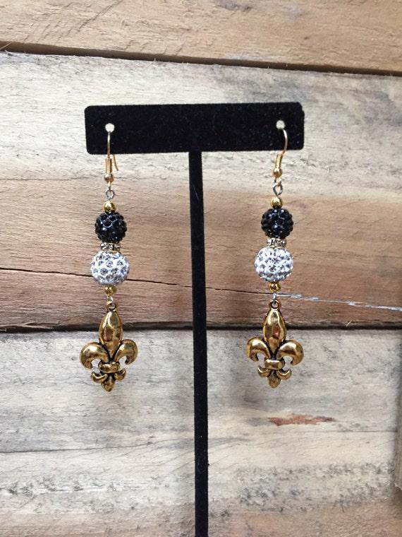 new orleans saints jewelry earrings football gold black white