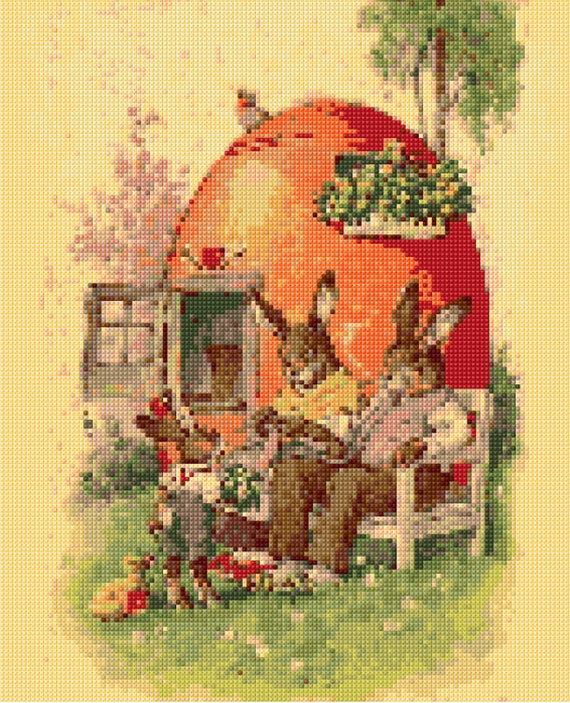 Bunny Family Cross Stitch pattern PDF -EASY chart with one color ...