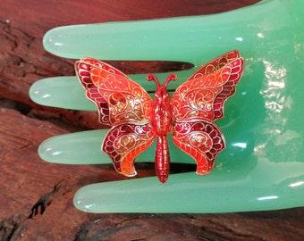 Red Orange Enamel Butterfly Brooch, W. Germany Made Butterfly Brooch, Firey Colored Butterfly Brooch 1950's