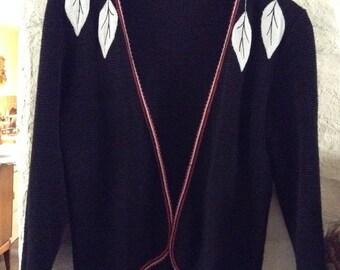 Vintage Cardigan/ Leaf Design/Unusual