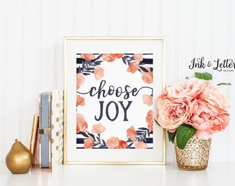 Coral and Navy Nursery - Choose Joy Sign - Choose Joy Print - Girl Nursery Decor - Girl Nursery Art - Nursery Wall Art - Printable - 8x10
