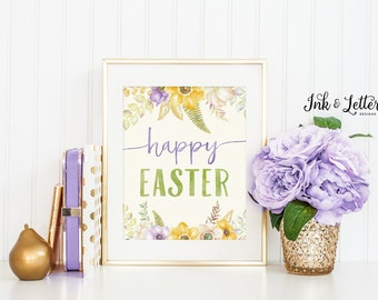 Happy Easter Sign - Easter Wall Decor - Happy Easter Printable - Easter Print - Easter Wall Art - Instant Download - Printable - 8x10