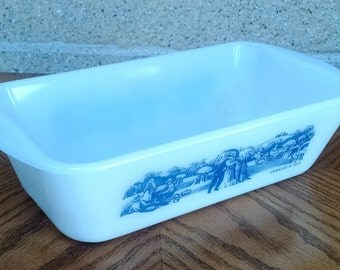 Currier and Ives Glasbake Loaf Dish Pan Milk Glass with Blue Harvesting / Farm Scene  J522