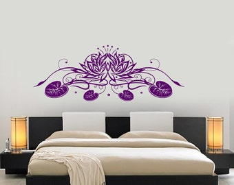 Wall Vinyl Decal Yoga Lotus Flower Ornament Yoga Studio Decor Yoga Room Modern Home Decor (#1232dz)
