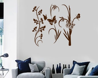 Wall Vinyl Decal Floral Ornament Flowers and Butterflies Modern Romantic Abstract Home Art Decor (#1235di)