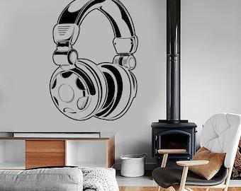 Wall Vinyl Music Headphones Earphones Song Guaranteed Quality Decal Mural Art 1577dz