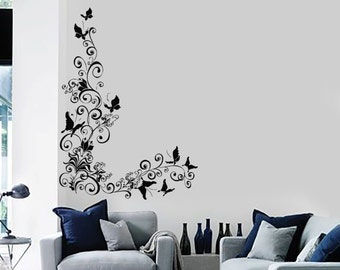 Wall Vinyl Decal Flowers Floral Tree Nature Butterfly Decor 2312di