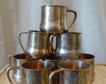 Set of 8 Copper Brass Mule Cups with Handles