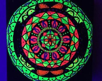 Psychedelic UV Blacklight Handpainted Goa Mandala Original Artwork Painting Canvas