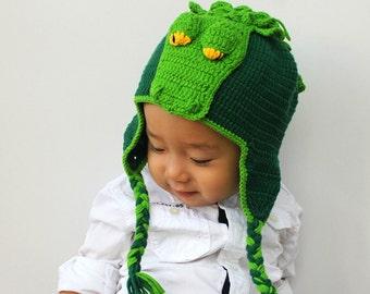 Crochet Crocodile Hat, Baby Crocodile Hat, Crochet Crocodile Beanie, Photo prop