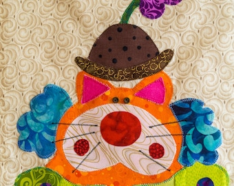 Clown Cat - Quilt Karma Pattern - Paper Strip Piecing Raw Edge Applique