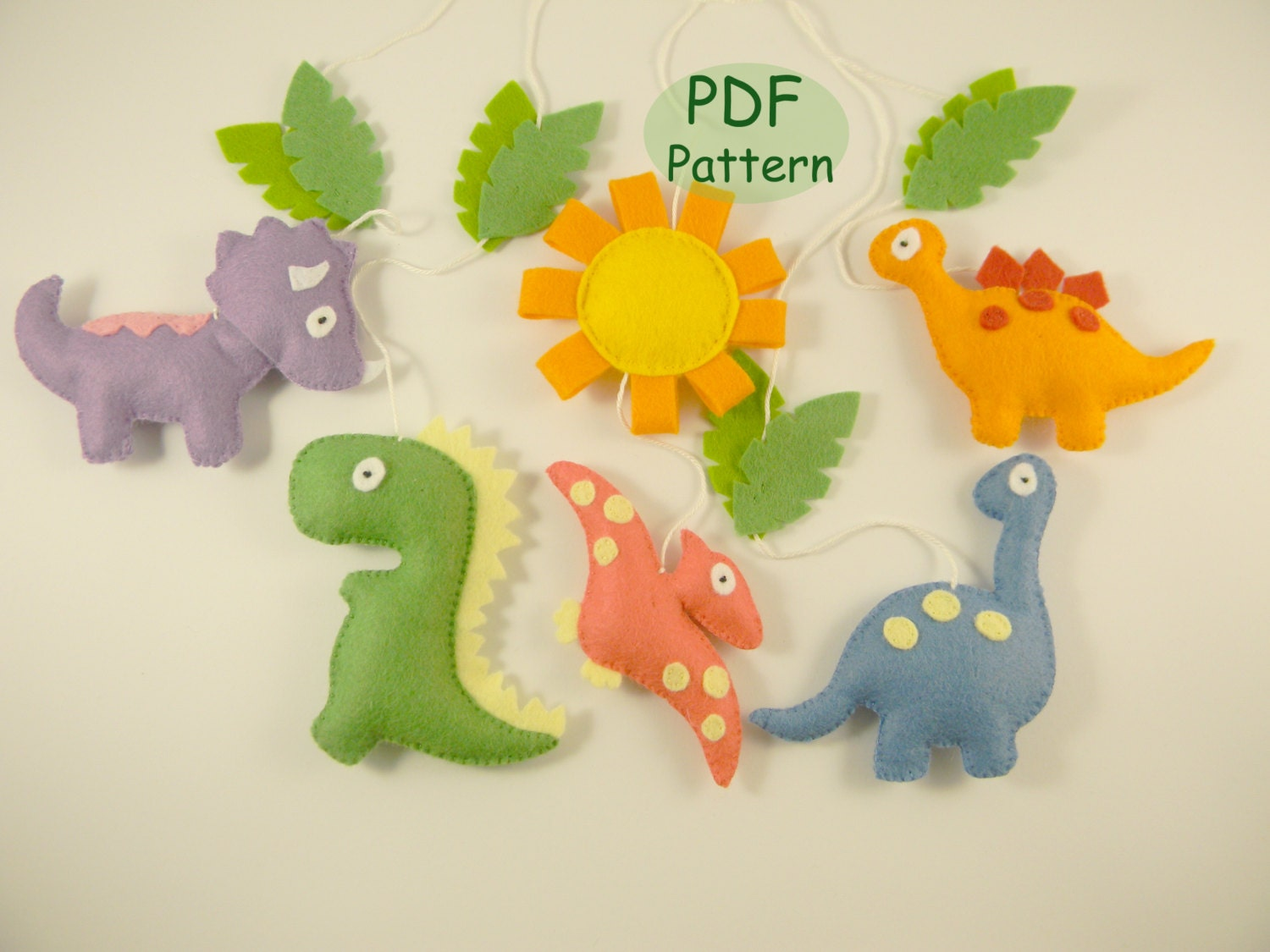 Pdf Dinosaur Patterns Diy Dinosaur Mobile Sewing Felt Baby