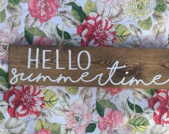 HELLO Summertime Wood Sign.