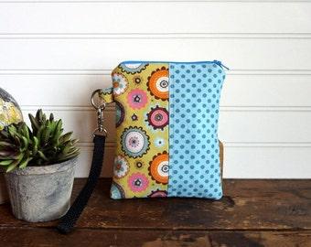 Wristlet Bag, Green, Blue Flowers and Dots, Phone or Camera Zipper Bag Wristlet, Gadget Bag, Passport Bag, Travel Zipper Bag
