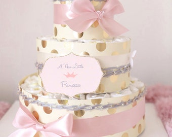Shiny Gold Dots U0026 Pink Diaper Cake For Baby Girl / Baby Shower Centerpiece  Decoration /
