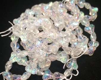 Berry Leaf Beads, 9mm, Crystal AB, 300-09-X0003, 25 Beads, Czech Glass