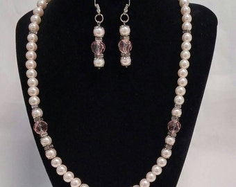 CLEARANCE - Pink Pearl Bridal jewelry Necklace Earring Set, Elegant Handmade Pink Pearl Earrings, Mothers Day Gift, Gift Idea, Wedding