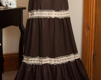 70s Folkloric Autumnal Brown Tiered Maxi Skirt, Size S-M