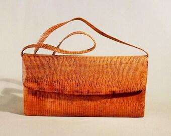 Vintage Light Brown Reptile Leather Bag, Shoulderbag, Shoulderpurse, Evening Bag