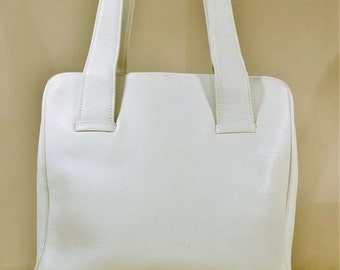 Vintage White Leather Bag, Handbag, Office Bag, Lady Bag, Handcarrier