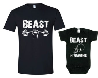 Matching Father Son Shirts Beast / Beast in Training Shirt Son Baby Bodysuit Matching Family Shirts First Fathers Day Mens Shirt, Bodysuit
