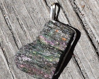 Botryoidal Rainbow Head Hematite Pendant wrapped in Silver wire