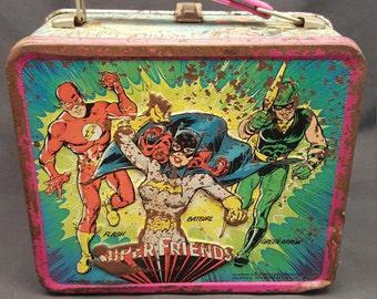 Vintage DC Comics Super Friends Metal Lunch Box Aladdin Industries 1976 1970s Lunchbox