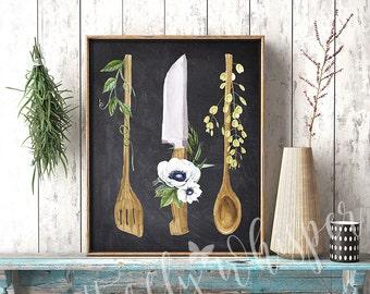 Printable Kitchen Chalkboard sign, Kitchen wall art, Kitchen print decor, Watercolor Utensils, Rustic Kitchen Spoons, Housewarming Gift