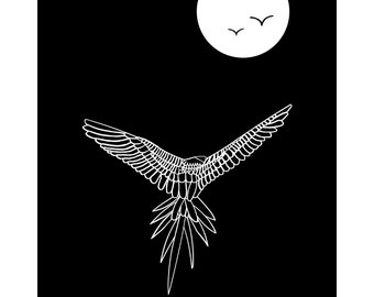 "Night Flight - 15.5"" x 12.5"" black & white print from an original drawing"
