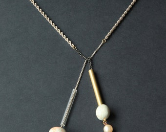 Concrete and Pearl Knot Necklace | Concrete Pendant