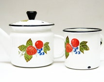 Enamel Set Soviet Teapot vintage kitchen ware retro rustic pitcher ussr retro rustic metallic retro teapot fruit metallic pot strawberry