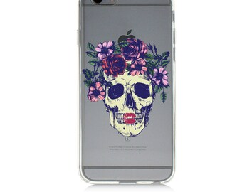 iPhone 7 Clear Case - Skull with Flowers - Protective TPU cover for iPhone 7 -7 plus - iPhone 6s -  6s plus - Samsung Galaxy s5 s6 s7 Note 7