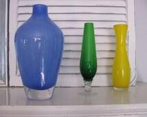 Blue Cased Glass Vase~Vintage Heavy Round Blue Art Glass Vase~Mouth Blown Poland LSA ~Retro Mid Century Collectible Art Glass Vase