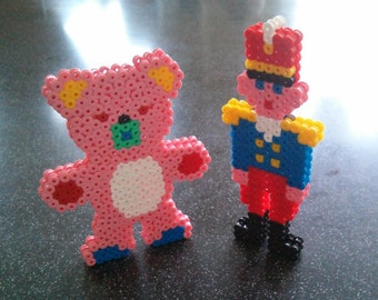 3D hama bead bear or soldier handmade