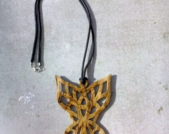 Olivewood Angelfly pendant necklace