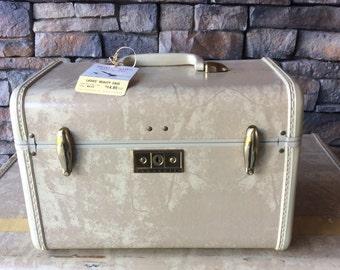 Vintage Samsonite White Marbled Train Case