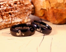 Couple Set Black Tungsten Bands with Domed Edge Mickey Mouse Rings- 8mm & 6mm Tungsten Rings