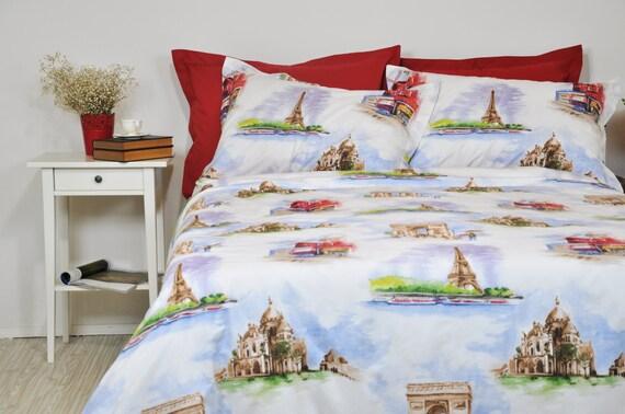 paris duvet cover set in full queen king size red white paris. Black Bedroom Furniture Sets. Home Design Ideas