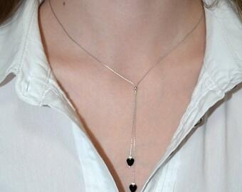 LARIAT NECKLACE // Bar Necklace - Silver Y Necklace - Y Shaped Necklace - Onyx Heart Drop Necklace - Everyday Necklace - Bar Drop Necklace
