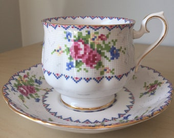 """Royal Albert 'Petit Point"""" Vintage Teacup and Saucer, Rose Cross Stitch Needlepoint Floral Tea Cup and Saucer, English Flower Bone China"""