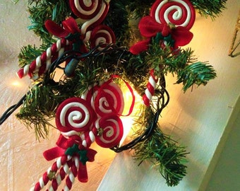 VINTAGE:Set of 3 Candy Cane  Ornament   Made From Polymer Clay-Made in China.{G2-223#00742}