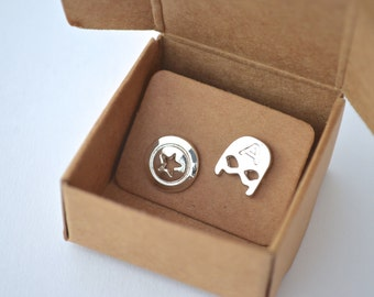 Captain America Earrings Silver Plated