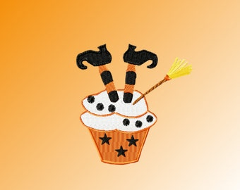 Witch cupcake Embroidery Design