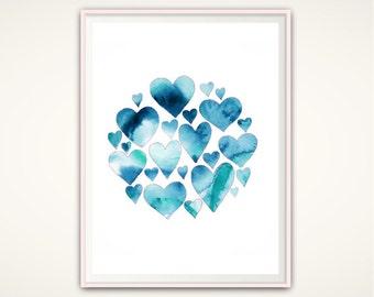 Heart Print, Watercolor Hearts, Blue Heart Print, Heart Wall Print, PRINTABLE Heart, Heart Decor, Love Heart Print, Heart Poster, Heart Art