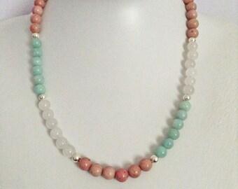 Pastel gemstone necklace
