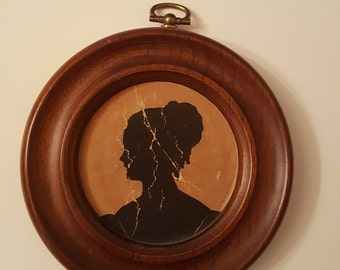 Vintage Cameo Silhouette Wood Wall Picture