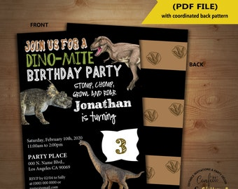 Dinosaur Birthday Invitation chalkboard dino party invite Instant Download YOU EDIT TEXT and print yourself invite 5215