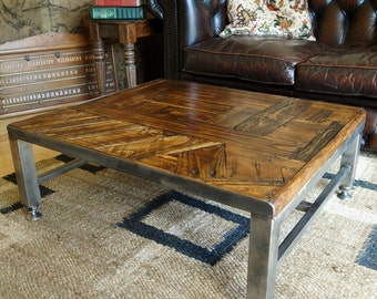 INDUSTRIAL COFFEE TABLE Bespoke Vintage Design Hand Crafted Furniture  Reclaimed Rustic Pine Plank Solid Wood Top