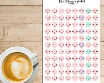 Kawaii Emoticon Planner Stickers (S-015)
