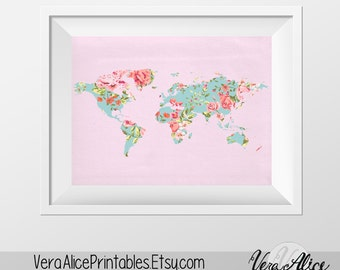 Pink Floral World Map Poster Art Print, Instant Download, Printable Decor, Digital Art Print, 8x10 16x20 11x14 World Map, Floral Wall Decor